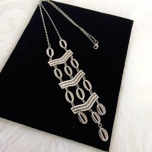 Jewelry - Boho Maxi Long Silver Hollow Hoop Necklace NWOT